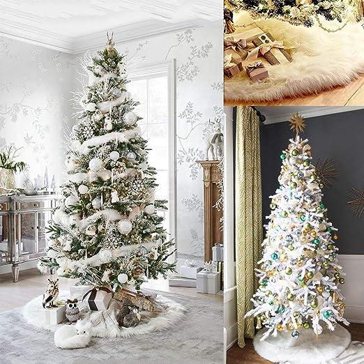 Awtlife Falda de Felpa Blanca para árbol de Navidad, 153 cm ...