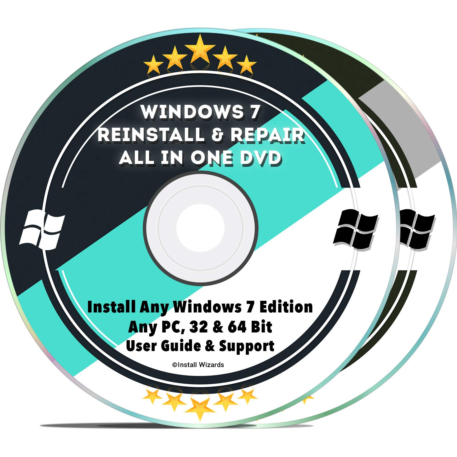 Windows 7 Compatible Repair & Reinstall Disc Set: Recovery Reboot Restore Fix Factory Reset - 32 & 64 Bit PC Computer Home Premium, Professional, Ultimate etc. + Drivers Install 2019 (2 DVD Set) by Install Wizards