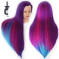 HAIREALM 65-70 cm Multicolore Tête à coiffurer Formation Mannequin Tete d'exercise a coiffer 100% Cheveux synthétique + Titulaire ESACH2P
