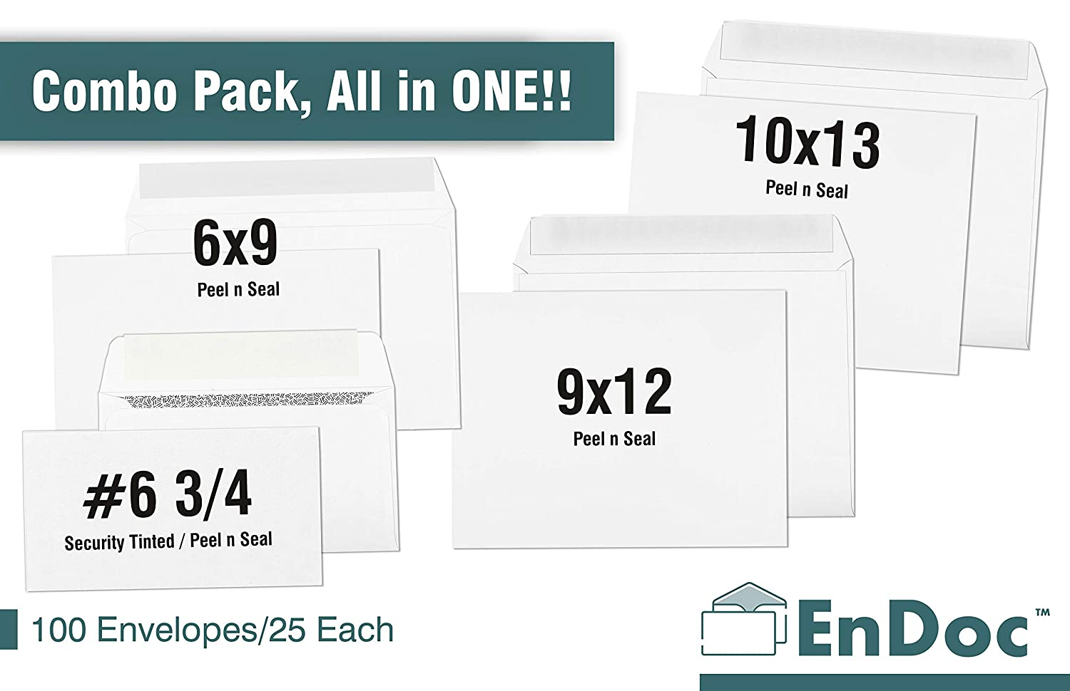 10x13, 9x12, 6x9 Self Seal, 6 3/4 Security Tinted Envelopes Assorted 25 Each Bright White Color – Office Envelopes Bulk Variety Pack – Desk Storage Box – 100 Count Total Booklet
