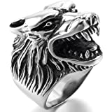 INBLUE Men's Stainless Steel Ring Silver Tone Black Wolf Head