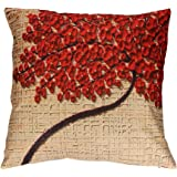 Vovomay Linen blend Home Decorative Throw Pillow Cover Cushion Case Square Pillowslip for Home Decor 18 X 18''