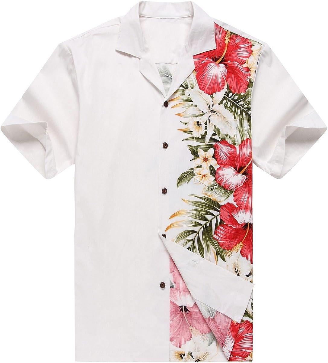 Hecho en Hawaii Camisa Hawaiana de los Hombres Camisa Hawaiana 3XL Orquídea Lateral Floral Blanco: Amazon.es: Ropa y accesorios