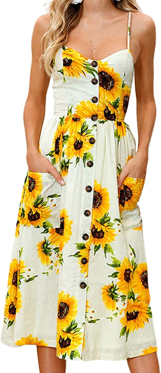Women's Stylish Summer Floral Midi Dress with Pockets