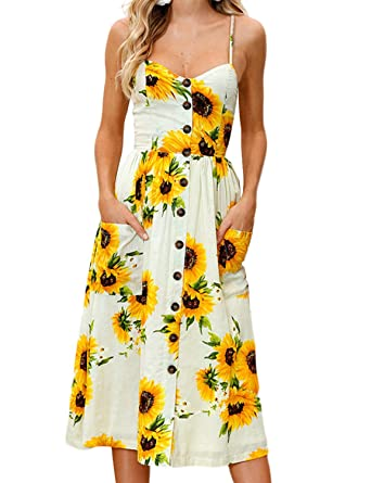 8f6bee83fb PIZOFF Women s Dresses Summer Floral Sunflower Dress Backless Spaghetti  Strap Button Down Midi Dress with Pockets