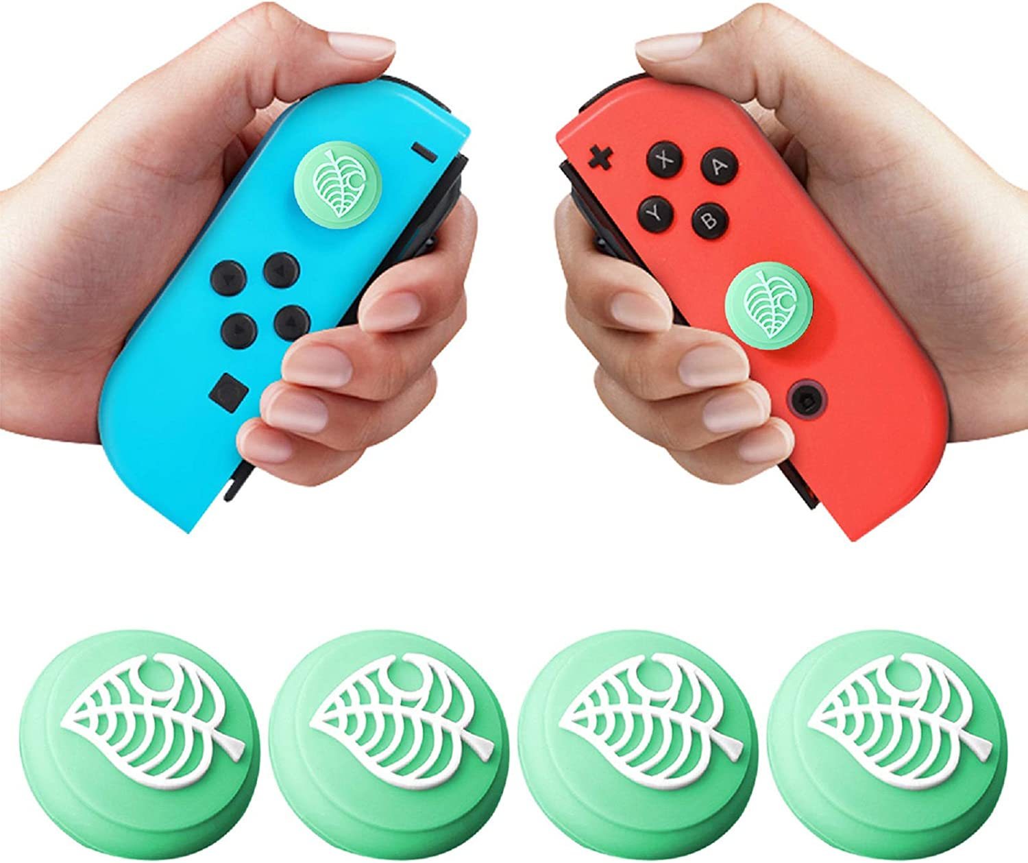 4 PCS Joystick Thumb Grip Caps for Switch & Switch Lite Joystick Cover, Cute Leaves Silicone Joystick Cap Joy-con Cover Analog Caps for NS Controller Accessories (Green): Amazon.es: Electrónica