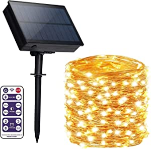 Solar String Light with Remote,Upgraded 300 LED Outdoor Solar Fairy Lights Garden Copper Wire Decorative Lights 118Ft Waterproof Indoor Outdoor Lighting for Garden, Patio, Yard, Christmas(Warm White)