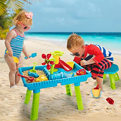 Temi Kids Sand and Water Table Toddler Activity Table Sandbox Toy Sensory Table Outdoor Toy Beach Play Table 27 Pcs Accessories for Kids Toddlers Children