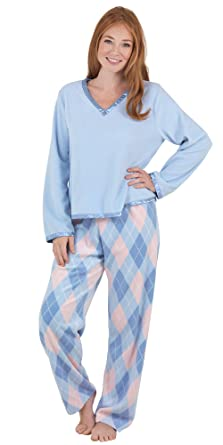 PajamaGram Women's Blue & Pink Fleece Argyle Pajamas at Amazon ...