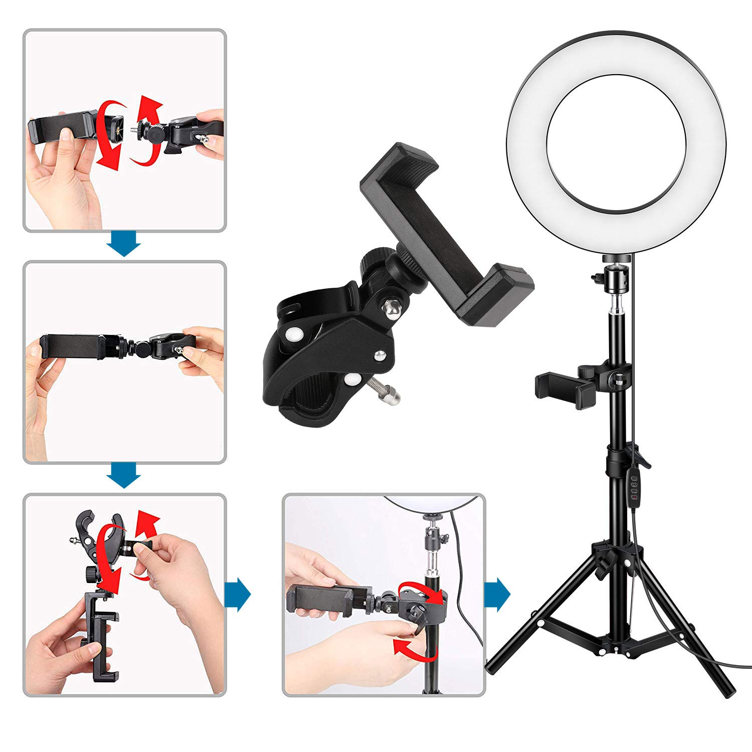 TaoTens 10 LED Ring Light with Tripod Stand /& Cell Phone Holder for Live Stream//Makeup,Mini Led Camera Ringlight for YouTube Vlog//Video//Photography Compatible with iPhone Xs Max XR Android