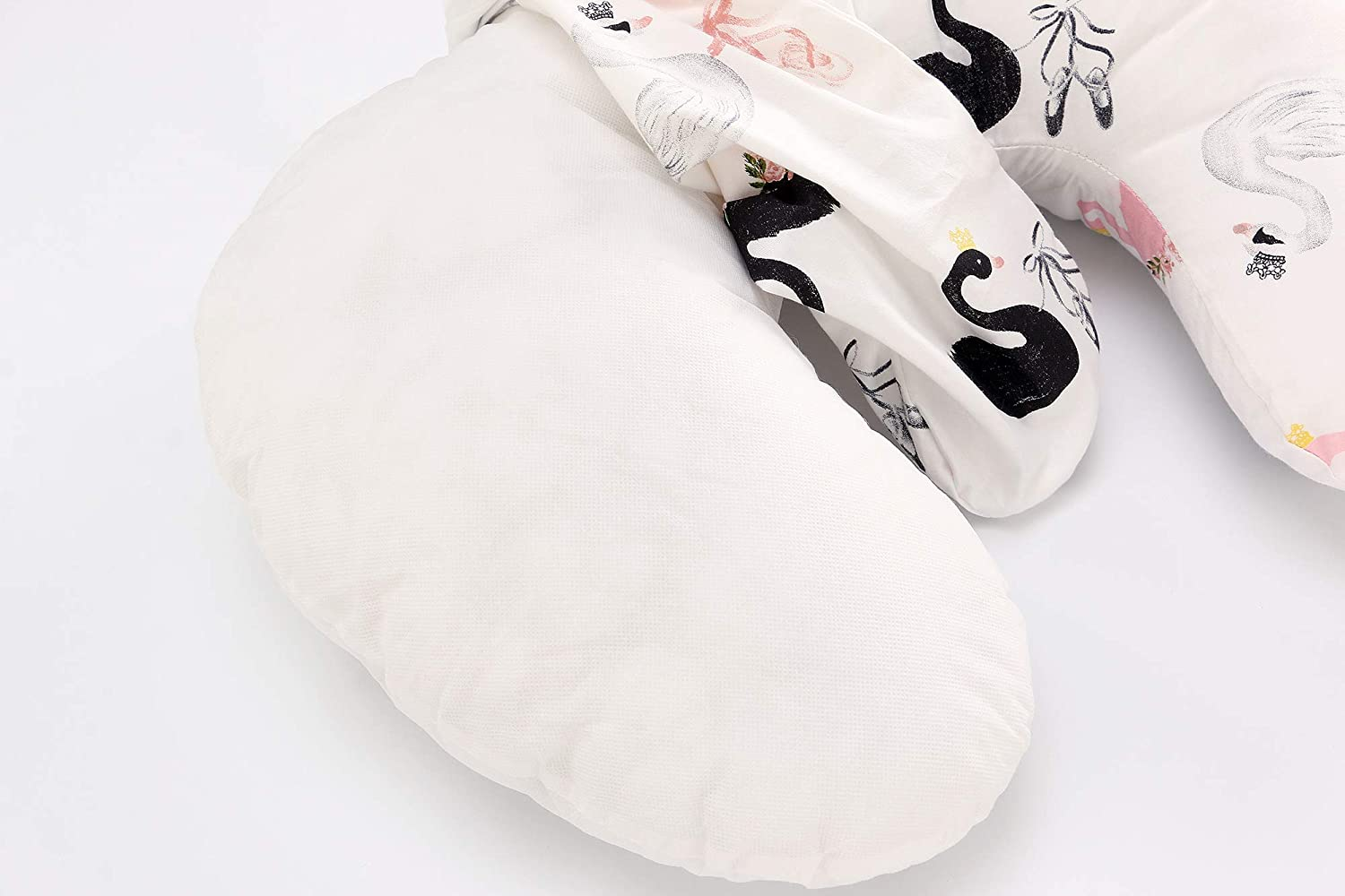 U-Shaped Nursing Breastfeeding Pillow Pure Cotton Comfortable Portable Cover Slip Protect Waist Cushion for Mom and Baby Crown Swan