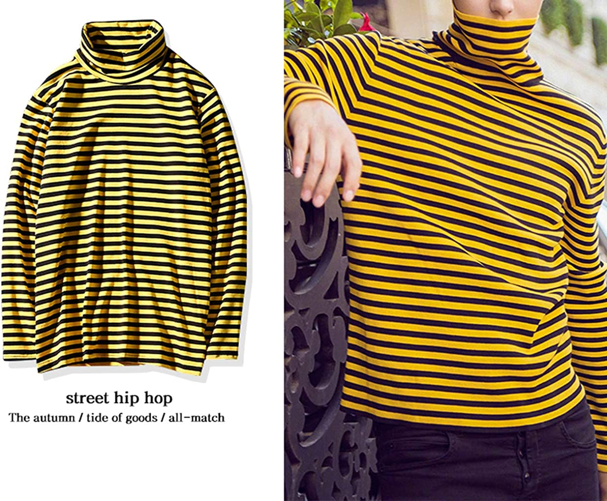 Hotmiss Mens Turtleneck Striped Hipster Hip Hop Pullover Long Sleeve T-Shirt Top Red