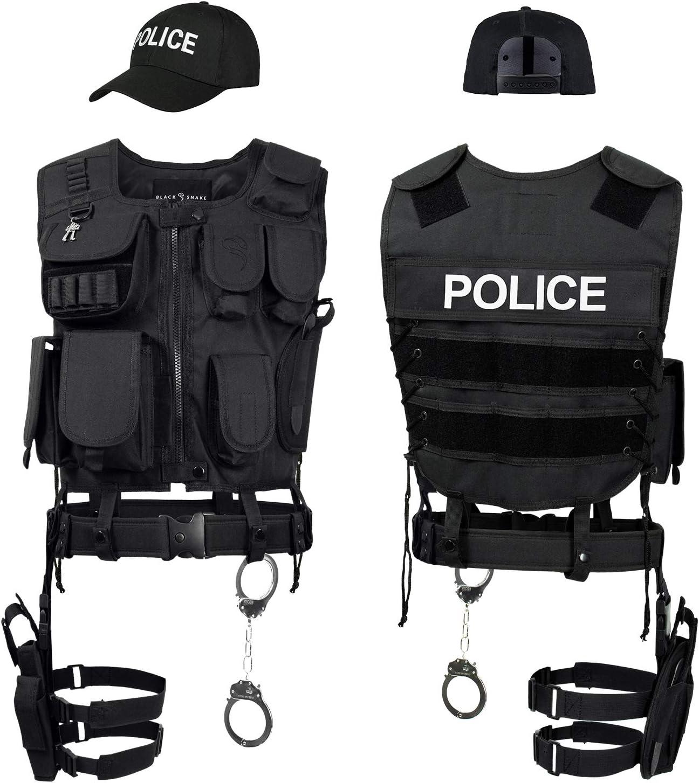 Black Snake/® Disfraz de Agente Especial SWAT FBI Police Security Traje de Carnaval