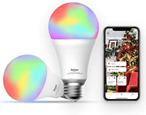 Smart Led Bulb Apple HomeKit - Refoss Wi-Fi Smart Bulb RGB Color Changing Compatible with Siri, Alexa and Google Home, 60W Equivalent, 2700K-6500K Dimmable E26 LED Bulb A19, 2 Pack