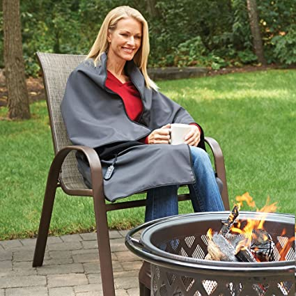 Amazon Hammacher Schlemmer The Cordless Heated Throw Home Fascinating Rechargeable Heated Throw Blanket