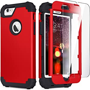 iPhone 6S Case, iPhone 6 Case with Tempered Glass Screen Protector, IDweel 3 in 1 Heavy Duty Rugged Shockproof Drop Protection Hybrid Hard PC Covers Soft Silicone Full Body Protective Case, Red+Black