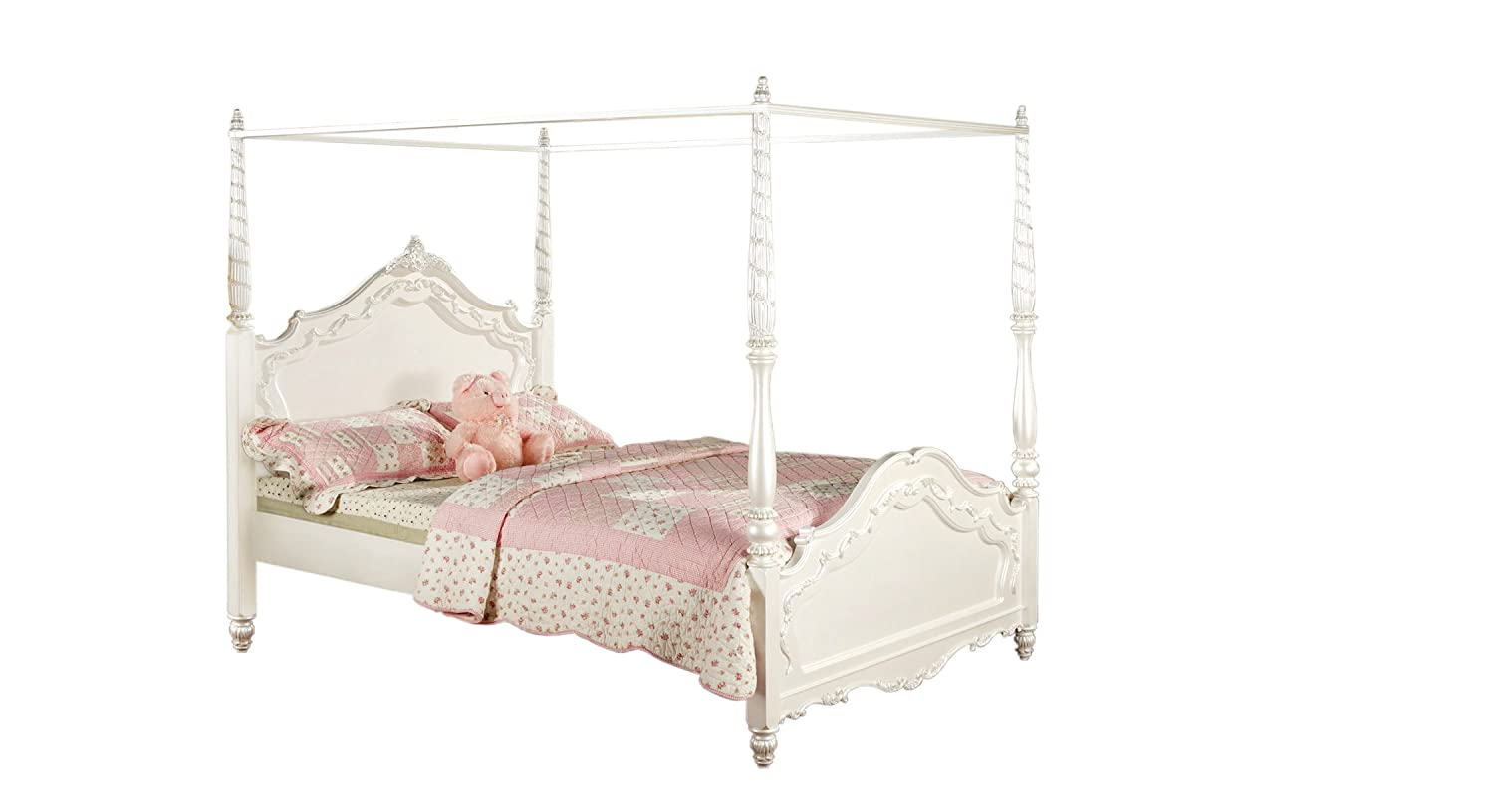 Amazon Furniture Of America Exandria Princess Style Canopy Bed Twin Pearl White Kitchen Dining
