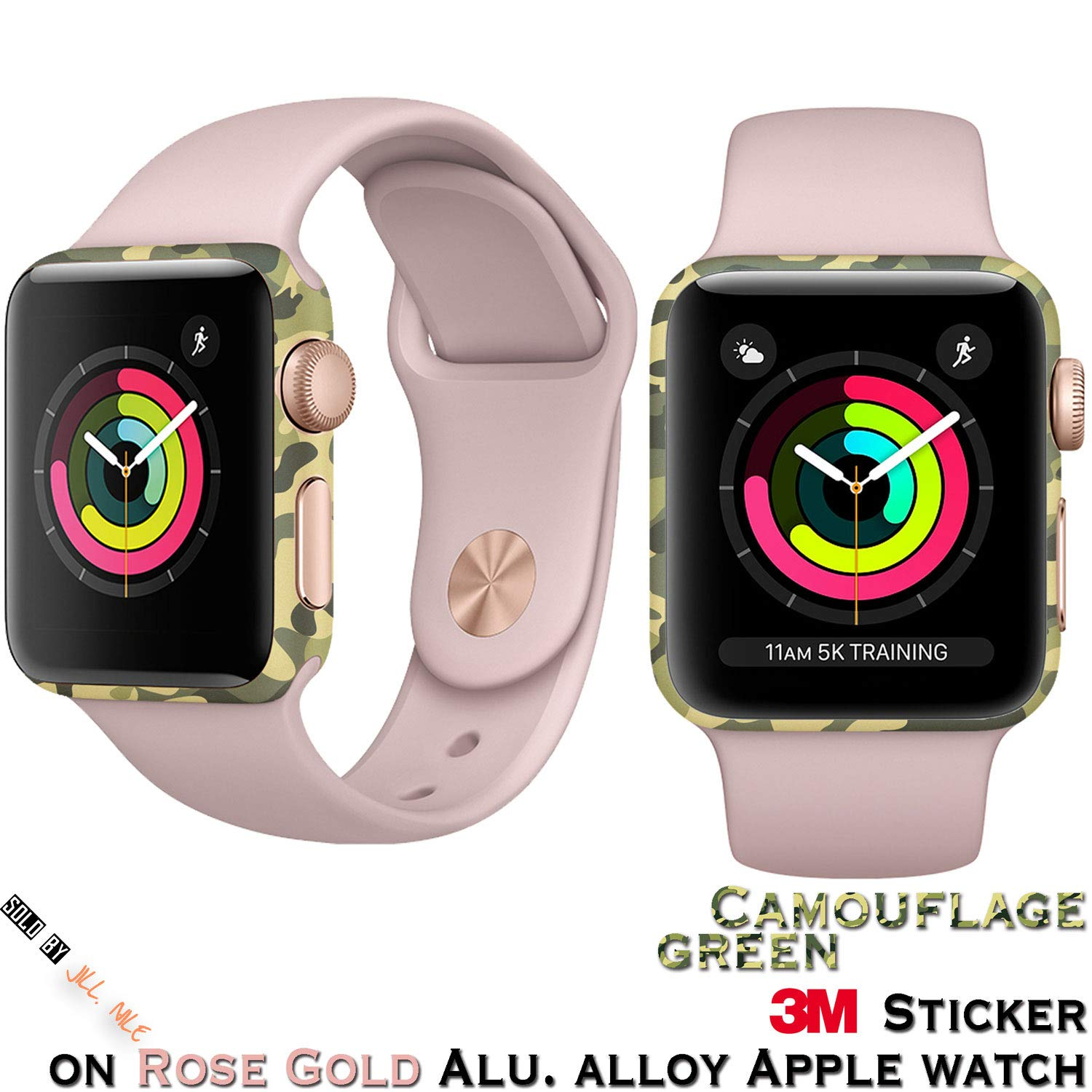 for Apple Watch Series 3 38mm Skin Protector for Protect The iWatch Body for Anti-Oxidation (Green Camouflage) by Dragon Dream