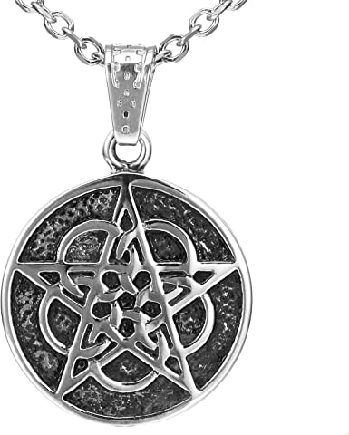 5 Point Star Circle Pentagram Pendant Necklace Cord Chain Mens Womens Jewellery