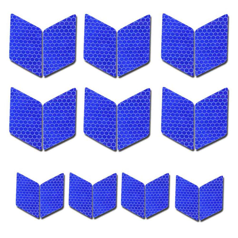 maiqiken 10pcs 60 x 30 mm Réfléchissant Autocollant Universal Voiture Moto Velo Haute Intensité Ruban Réfléchissant Adhésif Bleu