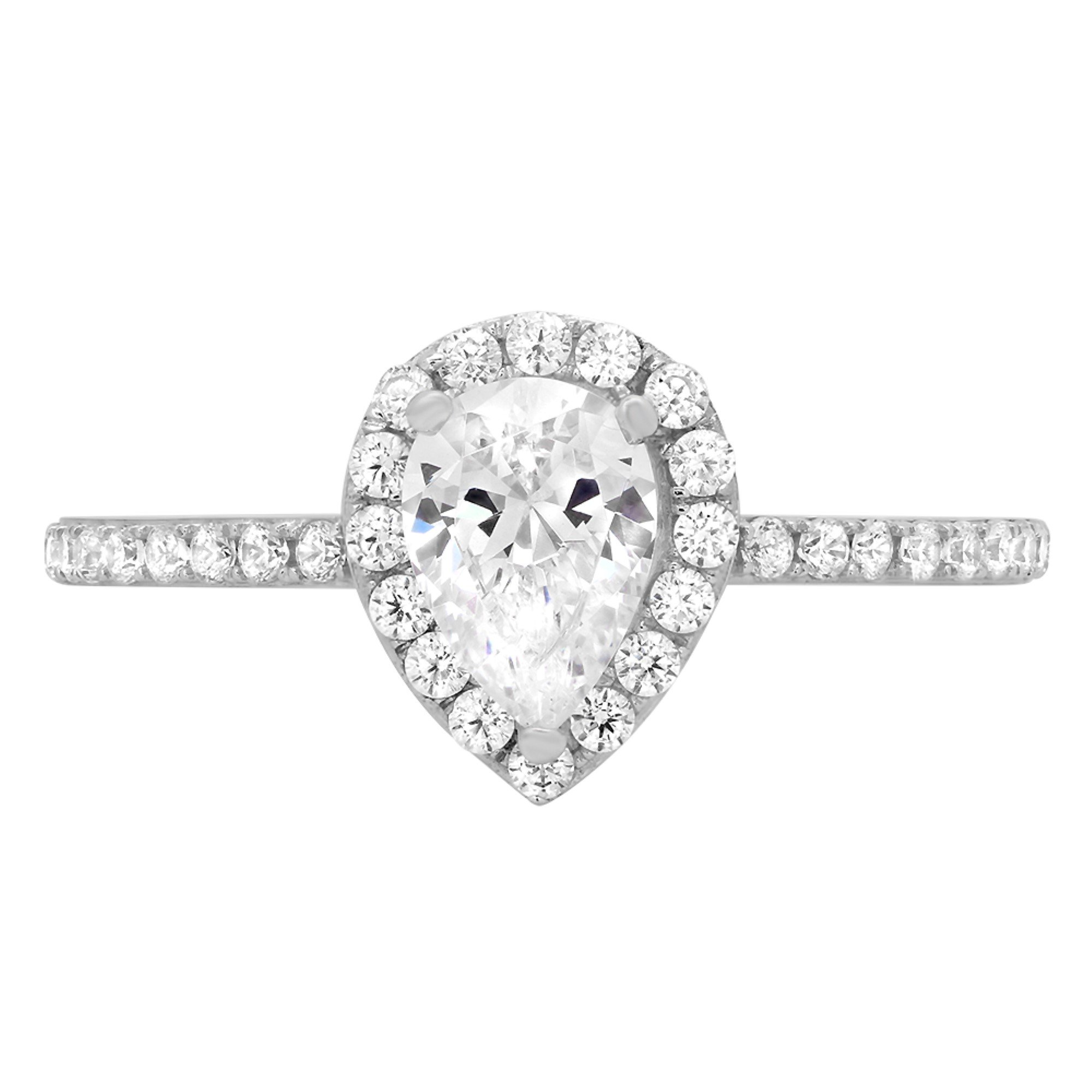 1.42ct Brilliant Pear Cut Halo Wedding Anniversary Promise Engagement Statement Bridal Ring 14k White Gold, 5