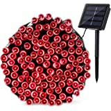 Qedertek 200 LED Solar Christmas Lights, 72 ft Fairy Decorative Garden String Lights for Home, Patio, Porch, Lawn, Party and Holiday Decorations(Red)