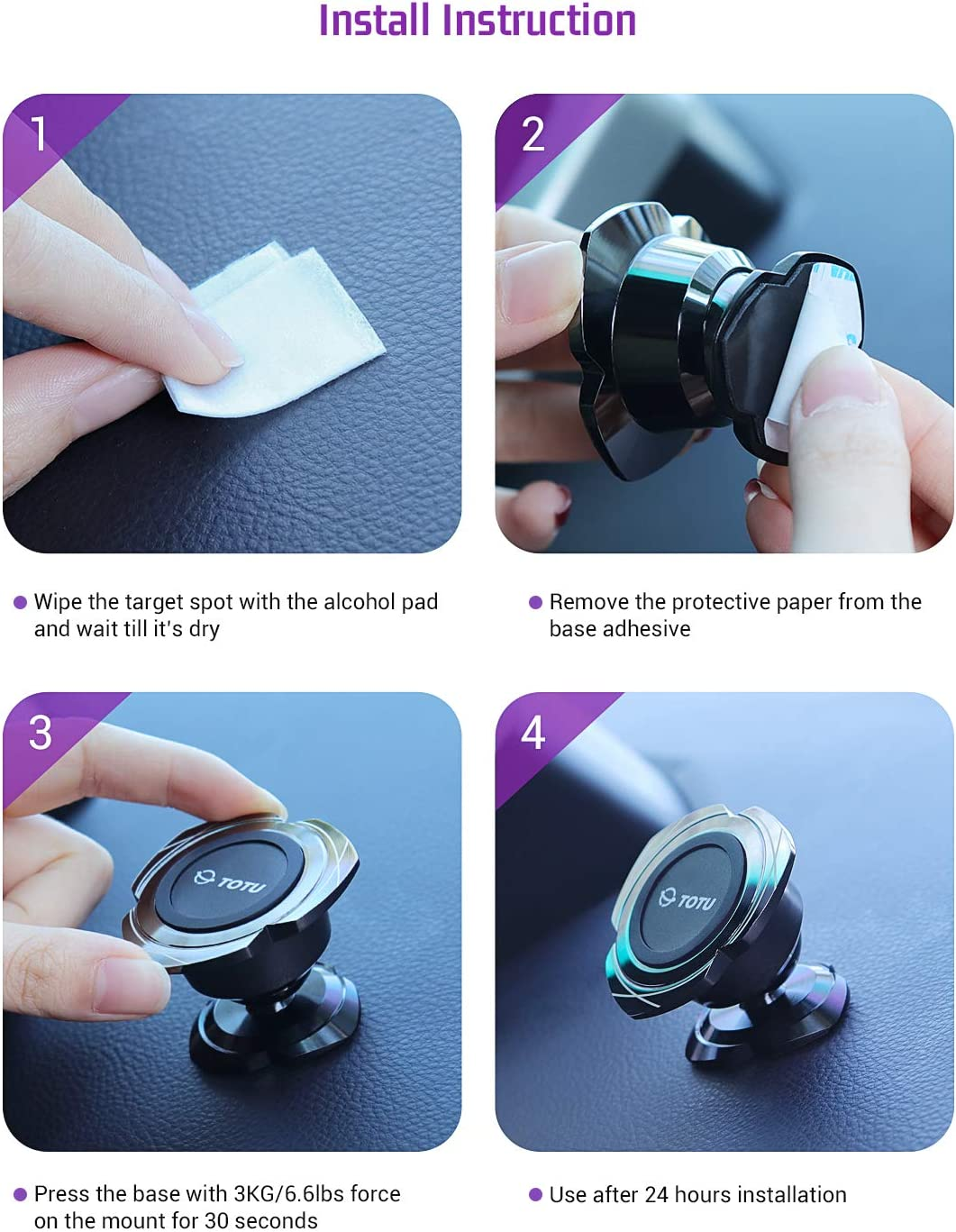 TOTU Magnetic Car Phone Holder Samsung S10,Google Pixel 3 XL,LG and More Car Phone Mount Universal Adjustable Dashboard Magnetic Car Phone Mount for Mini Tablets and iPhone Xs 11 XR