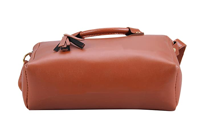 070a28b9fb4 Aizah s Latest SLING SIDE BAG with extra round handle for women (TAN)   Amazon.in  Shoes   Handbags