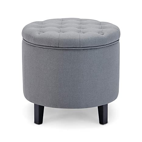 Stupendous Belleze Nailhead Round Tufted Storage Ottoman Large Footrest Stool Coffee Table Lift Top Gray Dailytribune Chair Design For Home Dailytribuneorg