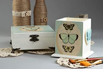 Pot a crayons design boite bois fait main blancs accessoire bureau