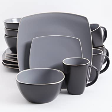 Gibson Elite Soho Lounge Matte Glaze 16 Piece Dinnerware Set in Gray; Includes 4 Dinner Plates; 4 Dessert Plates, 4 Bowls and 4 Mugs
