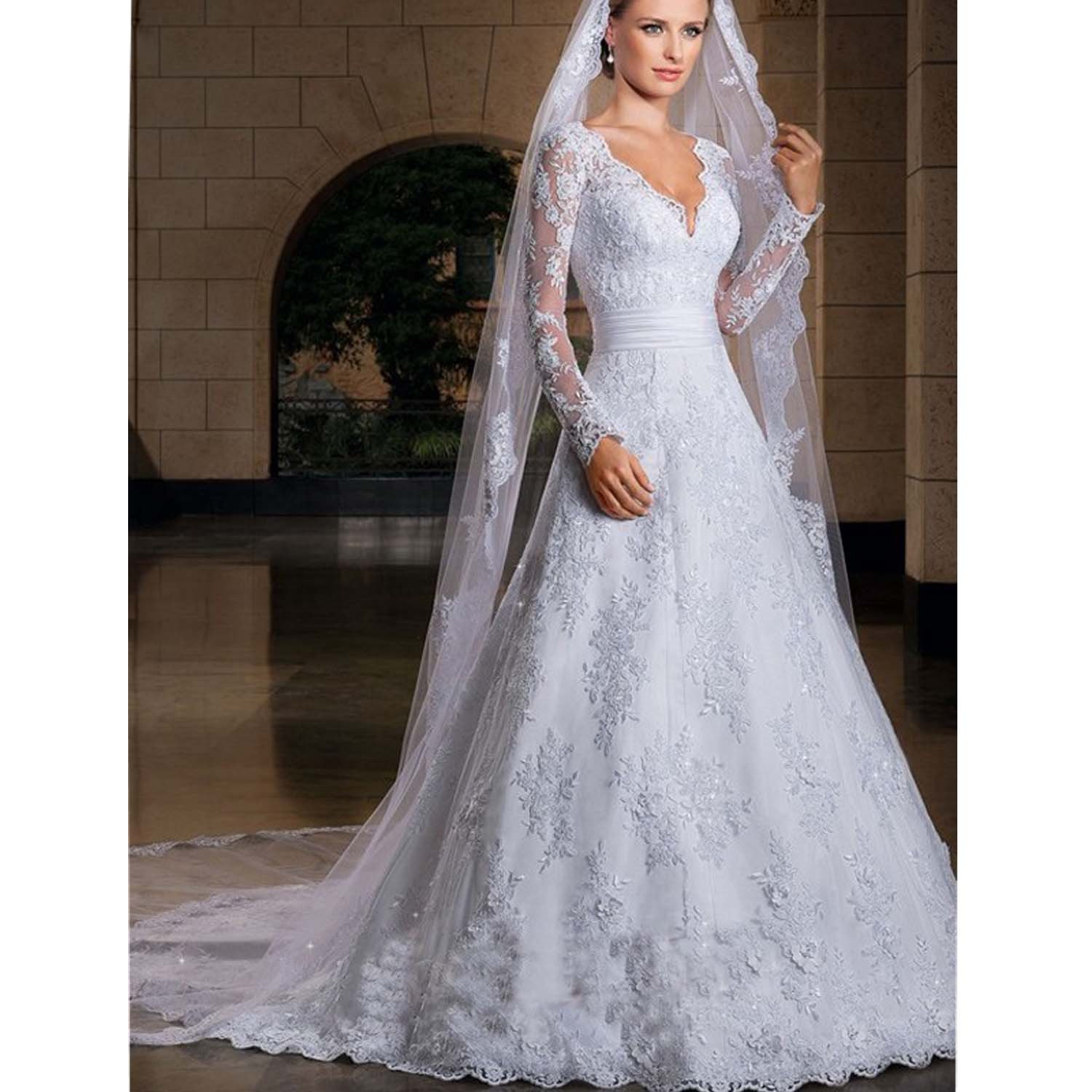 Thrsaeyi Womens Long Sleeves Lace Mermaid V-Neck Wedding Dresses Bridal Gowns at Amazon Womens Clothing store: