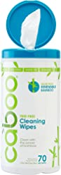Caboo All Purpose Bamboo Cleaning Wipes, Eco Friendly and Compostable Multi-Surface Kitchen Wipes - Apple Scented, 1 Canister of 70 Wipes