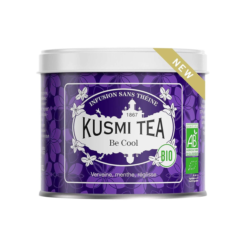 Kusmi Tea - Be Cool (Organic Herbal Tea) - Blend of herbs, peppermint, licorice and apple - Loose Leaf Tea tin 3.1oz