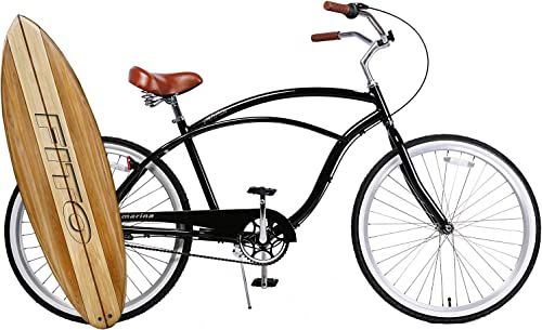 Fito Anti Rust Light Weight Aluminum Alloy Frame Marina Alloy 3 Speed 26 Wheel Mens Beach Cruiser Bike Bicycle Black with Brown seat