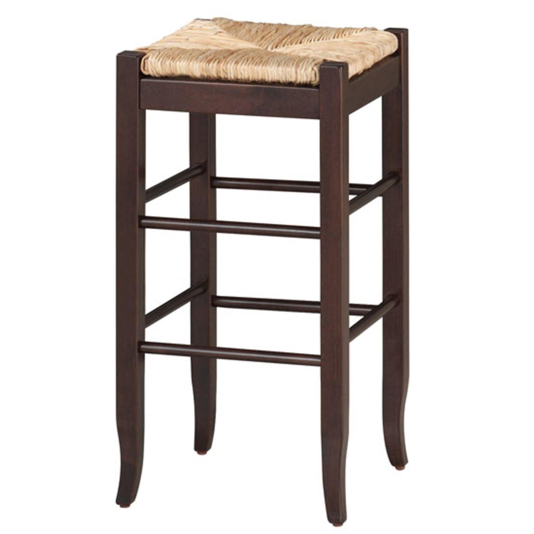 Boraam 94829 Square Rush Seat Bar Height Stool, 29-Inch, Cappuccino