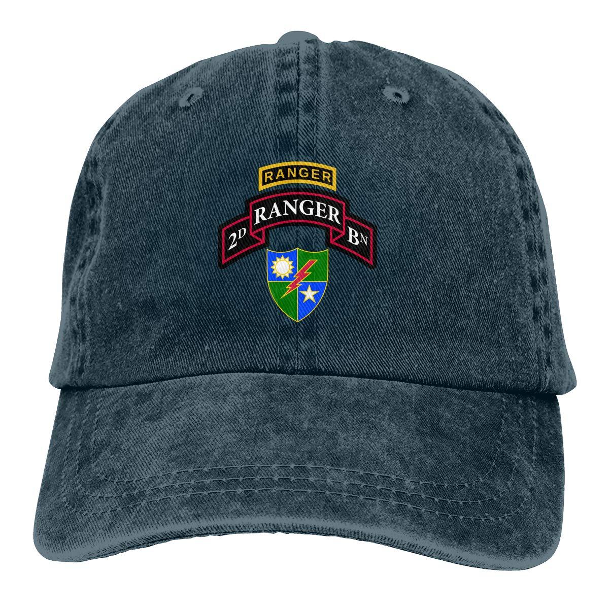 Sajfirlug US Army Retro 2nd Ranger Battalion Fashion Adjustable Cowboy Cap Denim Hat for Women and Men