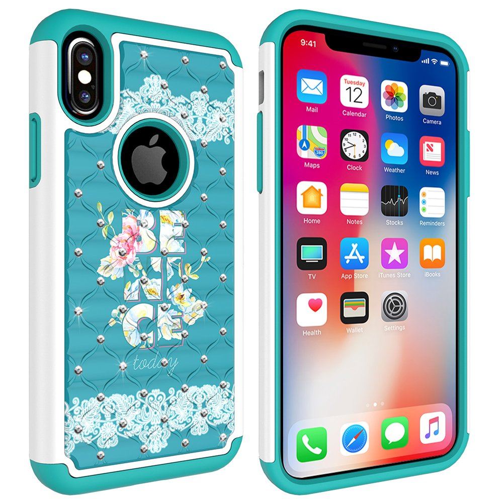 iPhone X Case, MagicSky [Shock Absorption] Studded Rhinestone Bling Hybrid Dual Layer Armor Defender Protective Case Cover for Apple iPhoneX - Be Nice