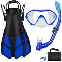 GoOsprey Kids Snorkeling Set with Flippers/Fins + Panoramic Snorkel Mask + Dry Top Snorkel + Travel Bags,Snorkeling Gear…