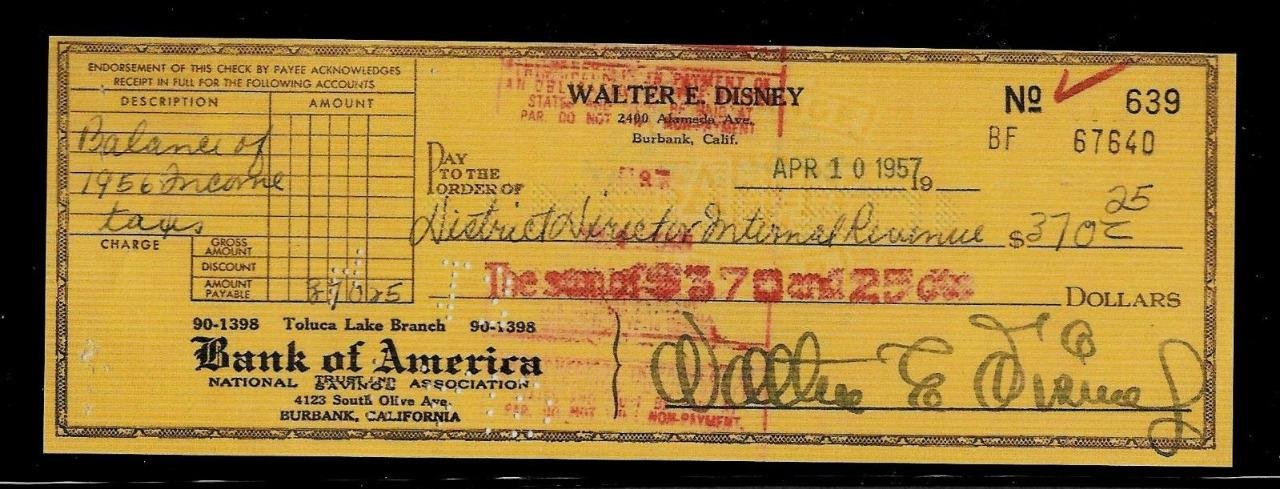 Walt Disney Facsimile Signed Autographed Personal Check Framed 8x10 Display