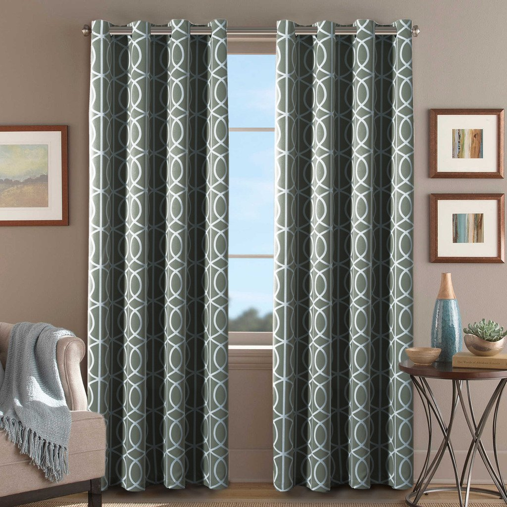 H.Versailtex Printed Blackout Room Darkening Printed Curtains Window Panel Drapes Grey Curtains