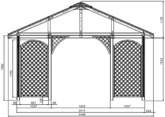 Madera Carpa Cenador con techo de madera 4 mx 4 m (äußer 4.45 M) Tejas con.