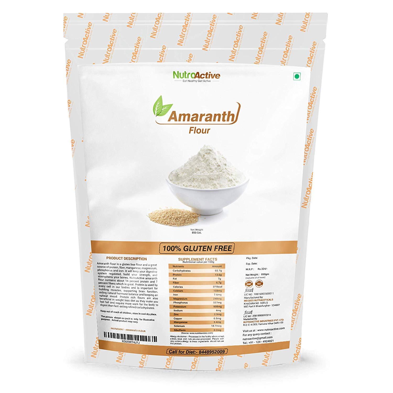 NutroActive Amaranth Flour sin pegamento (Rajgira Atta) – 850 g (29.98 oz)