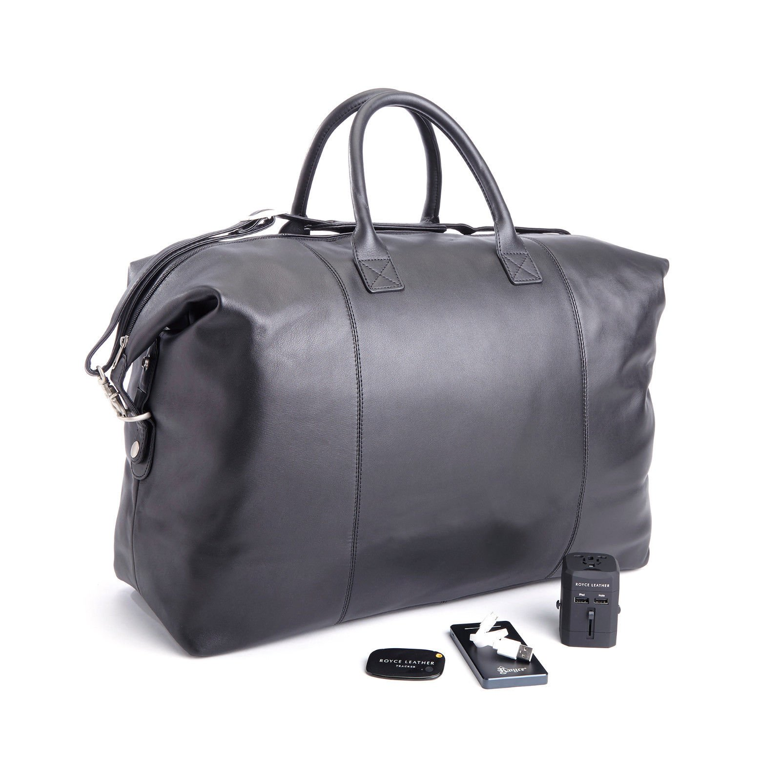 ROYCE Luxury Travel Set: Lightweight, Expandable Duffel Bag with Bluetooth-based Tracking Device for Locating Luggage, Portable Power Bank and International Adapter - Black