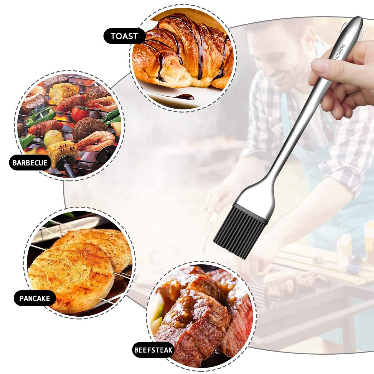 Hcomine Set of 5 Basting Brush, Pastry Silicone/Grill/BBQ/Sauce/Butter/Oil Brush with Flexible Heatproof Stainless Steel Handle 12'' and 7.9'',Food Grade FDA Approved, Dishwasher Safe, Bristle Free. by Hcomine (Image #3)