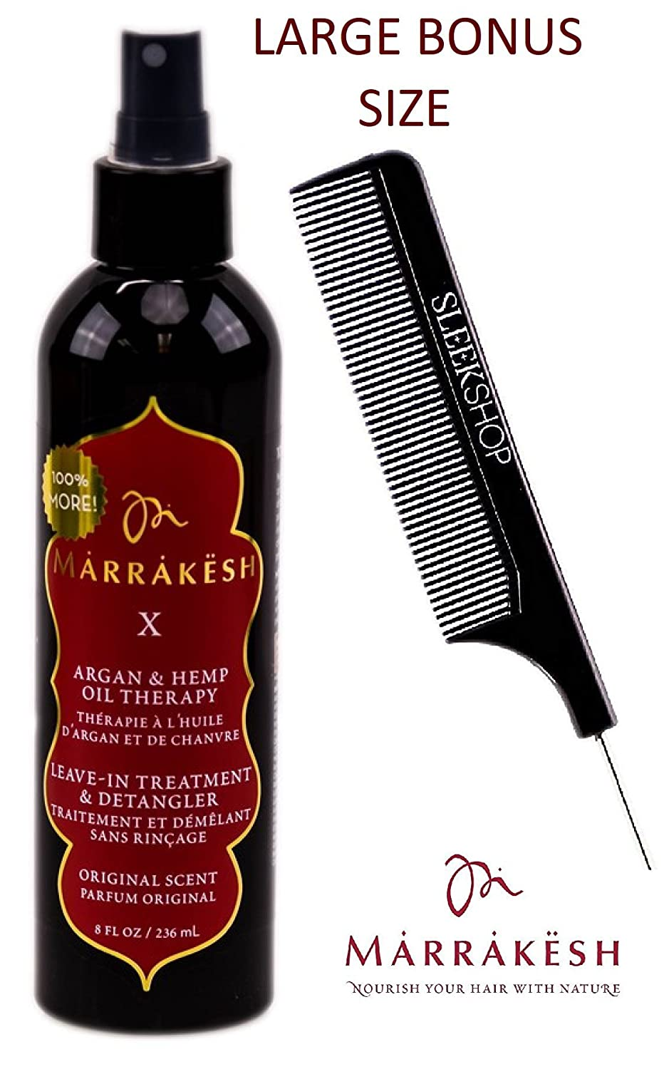 Marrakesh X Leave-In Treatment & Detangler (ORIGINAL SCENT) with Argan & Hemp Oil Therapy Spray Conditioner by Earthly Body (with Sleek Steel Pin Tail Comb) (Original - 8 oz/LARGE BONUS) Earthly Body by Marrakesh