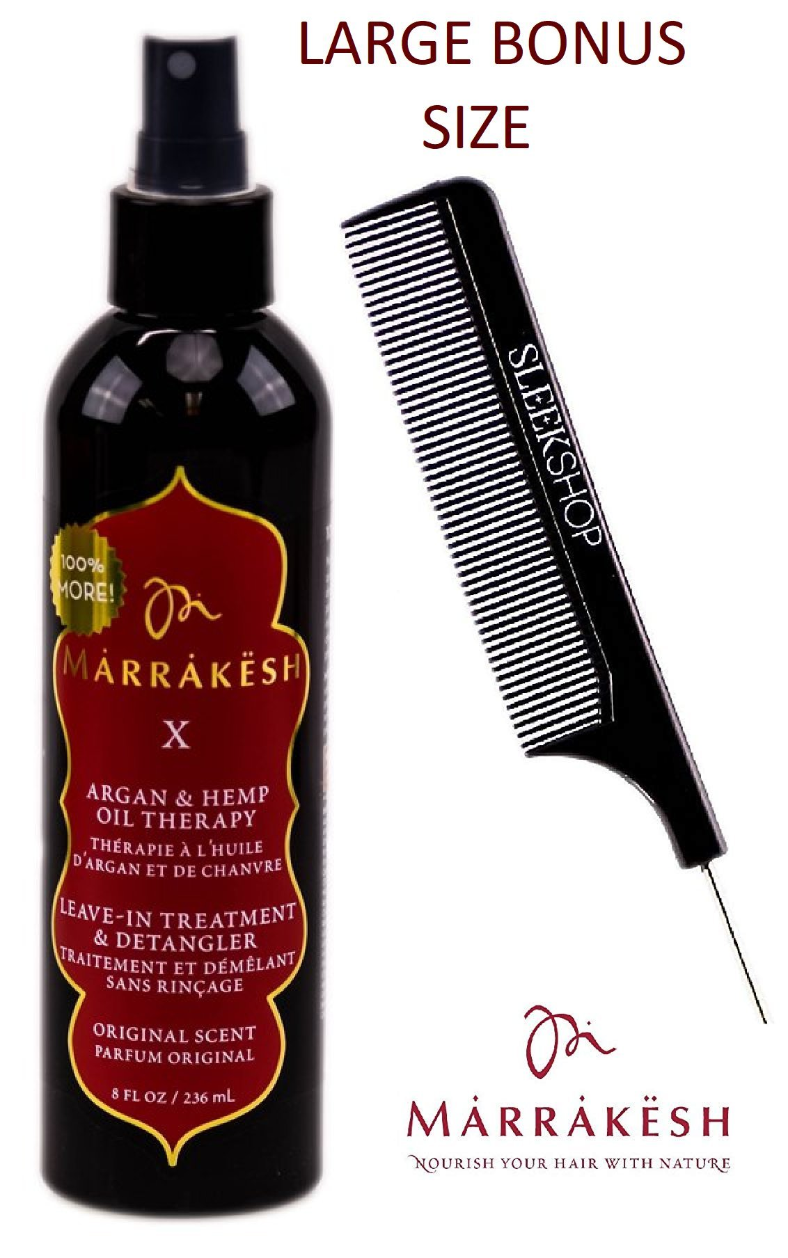 Marrakesh X Leave-In Treatment & Detangler (ORIGINAL SCENT) with Argan & Hemp Oil Therapy Spray Conditioner by Earthly Body (with Sleek Steel Pin Tail Comb) (Original - 8 oz/LARGE BONUS) by Earthly Body by Marrakesh