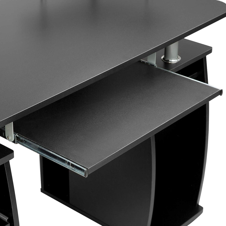 Noir Bureau Informatique Table de lordinateur avec de Nombreux rangements