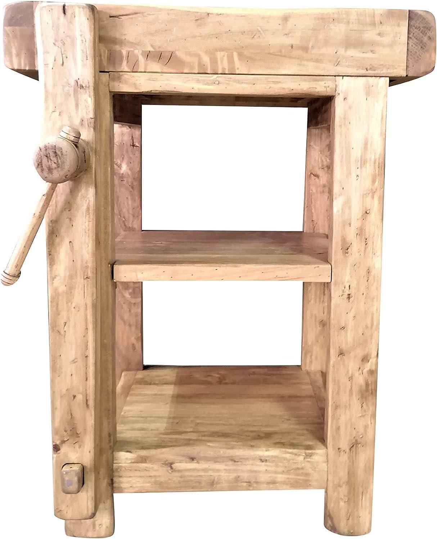 fedele riproduzione di un antico ed originale Banco da Falegname Biscottini Banco Tavolo da lavoro Country in legno massello di tiglio finitura naturale anticata L 64 x PR 57 x H 82 cm Made in Italy