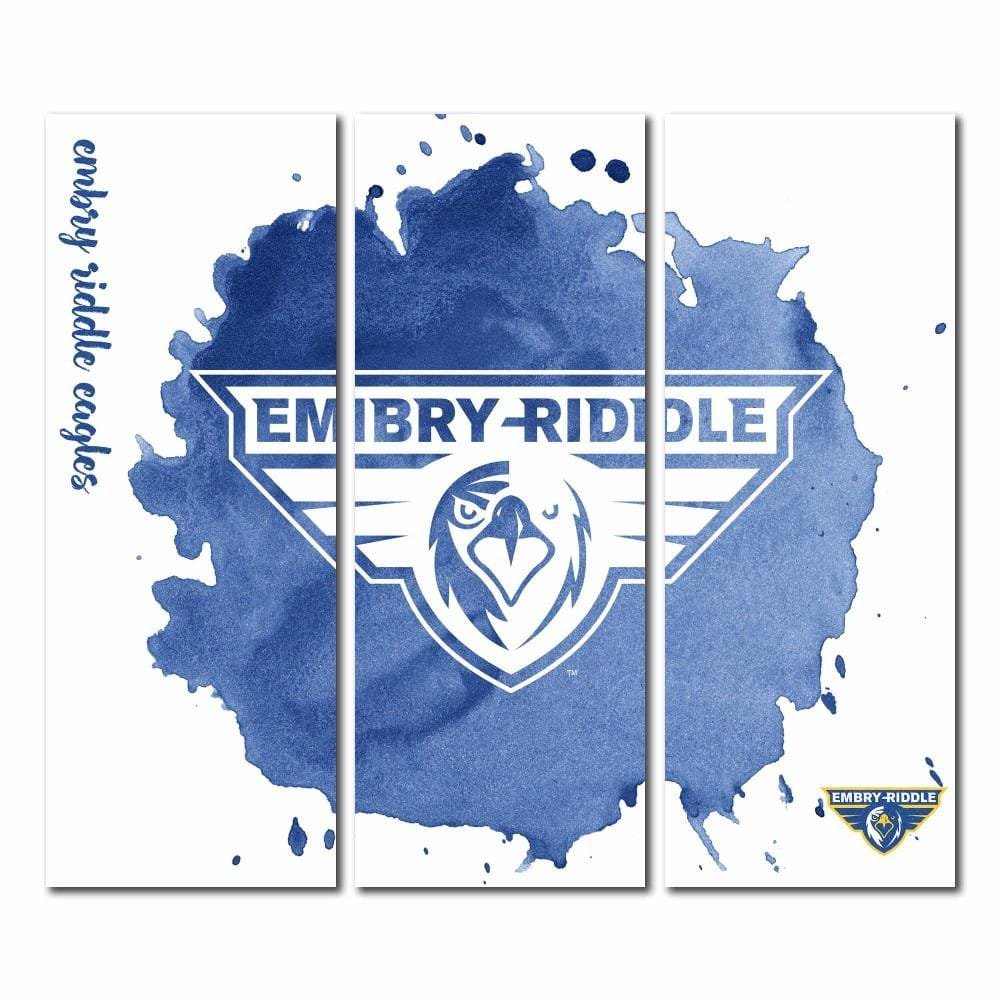 embry-riddle Eagles Prescott Triptychキャンバス壁アート水彩 48x54  B071LQ14ZC